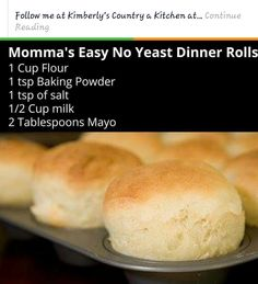 Healthydinner rolls Dinner Rolls Easy, Quick Rolls, No Yeast Dinner Rolls, Homemade Dinner Rolls, Dinner Rolls Recipe, Biscuit Bread, Muffin Bread, Biscuit Recipe, Homemade Sliders