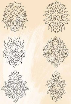 grey Persian Brush pack 02 Gole Shaah Abbasi or Shaah Abbas's Flower. Islamic Art Pattern, Arabic Pattern, Pattern Art, Persian Pattern, Persian Motifs, Motif Design, Design Elements, Embroidery Patterns, Hand Embroidery