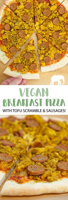This is the ultimate vegan Breakfast Pizza with tofu scramble and homemade seitan sausages! Pizza for breakfast or breakfast pizza for dinner? You decide! Breakfast Pizza, Vegetarian Breakfast, Vegetarian Recipes Dinner, Vegan Breakfast Recipes, Easy Dinner Recipes, Appetizer Recipes, Vegan Pizza Recipe, Pizza Recipes, Vegan Food