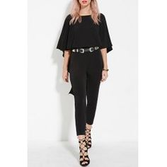 Vogue Scoop Neck Black Open Back Dolman Sleeve Jumpsuit For Women | NastyDress.com