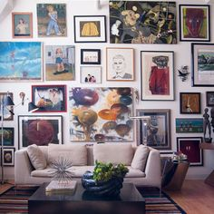 Eclectic Home Design, Picture wall.  Love the look, about actually doing it
