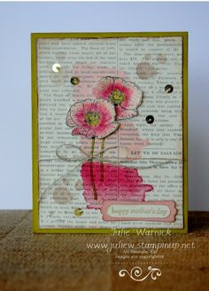 Stamps: Happy Watercolor, Teeny Tiny Wishes, Gorgeous Grunge Paper: Pear Pizzazz, Blushing Bride & Very Vanilla cs Ink: Rose Red, Blushing Bride, Pink Pirouette, Crushed Curry, Smoky Slate, Old Olive, Basic Gray, Gold Metallic Encore Pad Accessories: Blender Pens, Gold Sequin Trim, Linen Thread, Distressing Tool
