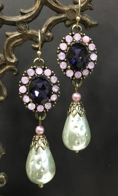 Lever Back Ear Wires Dark Blue Speckled Gold /& Crystal Earrings with Gold Bead Accents Earrings