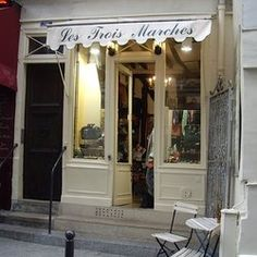 "Les Trois Marches - Paris 6th. Incredible selection of mostly Chanel and Hermes items. The shop to the right of this - Catherine B - owned by the same man is by appointment only. ""Except you, since you're American"""