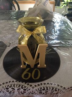 Motown Theme For My Aunts 60th Bday Party Gold And Black Centerpiece I Made