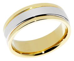 Designer 7mm Two Tone Gold Wedding Band