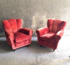 "Poltrone - Pair of Velvet Armchairs ""Casa and Giardino,"" 1938 Gio Ponti Paolo Buffa Mid-Century Italian Design di LittleOld su Etsy"