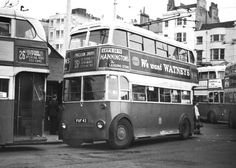 Brighton Trolleybus #42 (FUF42) surrounded by other trolleybuses in this 1961 photo. 1961 saw the closure of the Brighton Trolleybus service and #42 survived until the end. It is a Weymann bodied AEC.