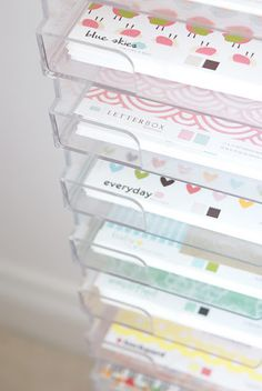 scrapbook paper organization--LOVE this and SO wish I had all of the shiny, glittery, and textured paper at Michaels in every color!!!