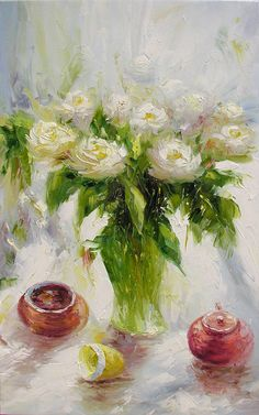 ORIGINAL Oil Painting White Mist 23 x 36 Palette Knife Colorful Flowers Roses White MIst Modern Textured Floral Freen Vase by #decorpro on #etsy