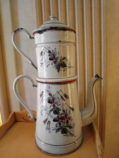Enameled  French COFFEE POT white hand painted by villavillacolle, $180.00