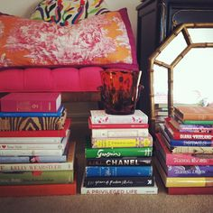Just a few of my favorite things: Manuel Canovas, otomi, tortoise glass, faux bamboo and stacks of books!