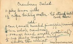 Great vintage Jell-O salad, perfect for the Holidays! Jello Recipes, Old Recipes, Vintage Recipes, Cookbook Recipes, Cooking Recipes, Dessert Recipes, Cranberry Jello, Cranberry Salad, Cookie Desserts