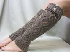 NEW thick knit open pattern knit cuff leg warmers in COFFEE  lace buttons  legwarmers Catherine Cole Studio. $27.50, via Etsy.