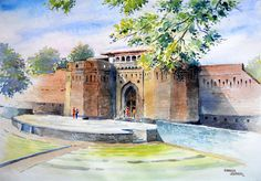 ArtEWorld by Sanika Dhanorkar: Watercolour Painting: Shaniwar Wada Facade, Pune, India Colour Architecture, Watercolor Architecture, Watercolor Landscape Paintings, Watercolor Artists, Watercolor Portraits, Watercolor Illustration, Watercolour Painting, Indian Illustration, Watercolours