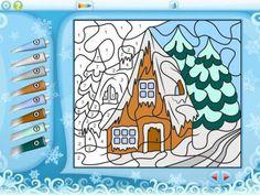 """Color by Numbers - Christmas - 15 świątecznych kolorowanek na iPada typu """"pokoloruj według liczb"""". Liczba punktów Appysmarts: 76/100 #dzieci"""