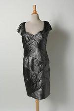 Tadashi Shoji Pleated Metallic Silver Jersey Cap Sleeve Sheath Dress Size L