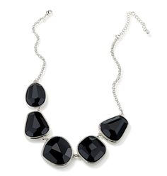 """Silvertone with faux stones, 16 1/2"""" L with a 3 1/2"""" extender."""