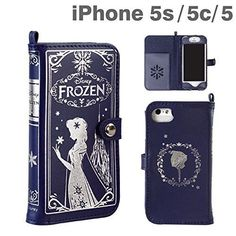 NEW Frozen Snow Queen Old book Leather Case Navy for iPhone 5 5S 5C Disney