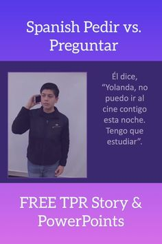 """Use engaging visuals and comprehensible input to teach the difference between the Spanish Pedir vs. Preguntar.  The 36-slide TPR Story PowerPoint is about Enrique, a lazy boy who meets a girl and asks his father for the keys to the car so he can go out with her.  His dad says, """"No.""""  Does Enrique change his ways?  This FREE PowerPoint includes true/false questions, comprehension questions, a PowerPoint explaining Pedir and Preguntar and more!  Click to get it! #pedirvspreguntar #AngieTorre Question And Answer, This Or That Questions, Comprehensible Input, Comprehension Questions, Boys Who, Curriculum, Decir No, Lazy, Keys"""
