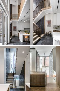 "This modern staircase is clad in glazed terra cotta tiles and is comprised of travertine block, with an undulating and braided bronze railing. The ""Dyade"" pendant light hanging above the stairs was designed by Julie Richoz. Manhattan, Living Room Paint, Living Room Interior, Custom Fireplace, Oak Panels, Stair Lighting, Interior Stairs, Interior Ideas, Wood Tile Floors"