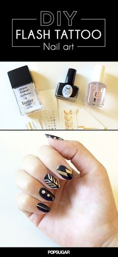 Put extra Flash Tattoos to fun use with this nail art DIY! It's an easy way to get a glamorous, festive manicure fast.