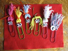 Almost Unschoolers: Summer Fun Day 63 - Paperclip Pals (Diy School Washi Tape) Paperclip Crafts, Paperclip Bookmarks, Yarn Crafts, Paper Crafts, Diy Crafts, Diy Paper, Paper Clip Art, Crafts For Kids, Arts And Crafts