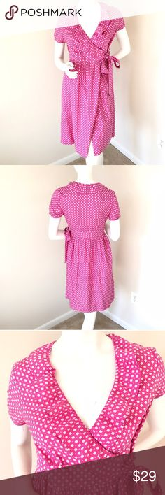 Pretty J. Crew Wrap Dress with Ruffles Collar!!! J Crew Pink and Cream Swiss Dot Fontana Polka Dot Wrap Dress. This super cute and girly dress has a tie at the waist and a ruffled collar. This will be a great addition to your Spring wardrobe. Excellent condition! J. Crew Dresses