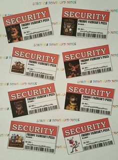 FNAF Security Tags Complete your FNAF party with these awesome security Tags ! At 3 x you can add them to your Customized Treat Bags. Visit my shop for listings. 9th Birthday Parties, 11th Birthday, Birthday Ideas, Five Nights At Freddy's, Fnaf Crafts, Fnaf Cake, Freddy S, Party Planning, Party Supplies