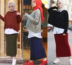 Pinterest: @adarkurdish Casual Chic Outfits, Hijab Casual, Hijab Chic, Modern Hijab Fashion, Muslim Fashion, Girl Hijab, Hijab Outfit, Hijab Style Tutorial, Skirt Fashion