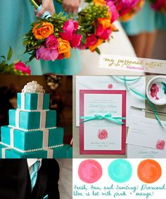 wedding color pallet tiffany blue hot pink orange coral fuscia aqua orange and hot pink wedding color ideas with bright multiple color flowers.
