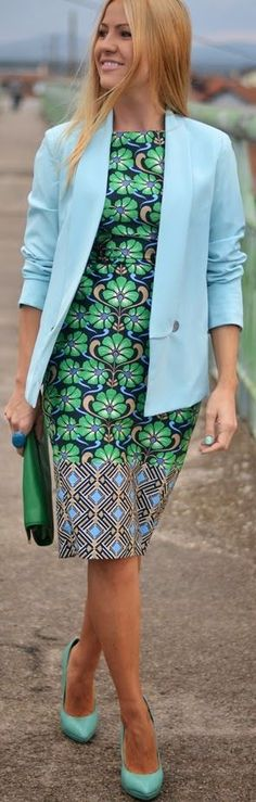 Blue-green Harmony ~African Prints, African women dresses, African fashion styles, african clothing