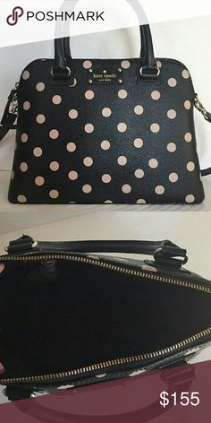 Kate Spade small Rachelle Wellesley Printed bag classic polka dot printed textured grainy vinyl with leather trim  9.5''h x 13''w x 5''d  double handle drop length: 5''  Removable and adjustable shoulder strap  custom woven lining  over the shoulder bag with zipper closure  interior double slide pockets and zip pocket  designed for Kate spade new york outlet shops  style # wkru3844 kate spade Bags Satchels