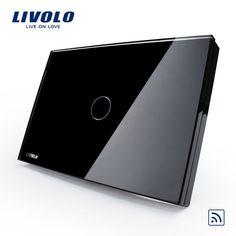 Estándar de ee.uu./au, livolo negro perla panel de cristal, VL-C301R-82, 110 ~ 250 V, 433.92 MHz Remoto Inalámbrico Interruptor ligero Casero