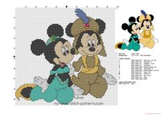 Mickey and Minnie Mouse as Jasmine and Aladdin cross stitch pattern