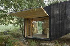 cabane de jardin en bois foncé de design minimaliste, grandes fenêtres et végétation copieuse