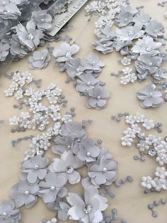 Luxury 3D gray  lace fabric hand made pearl beads 3D flowers