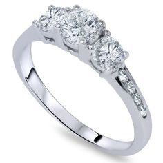 1.00CT Three Stone 3 Diamond Ring 14K White Gold #Pompeii3Inc #ThreeStone