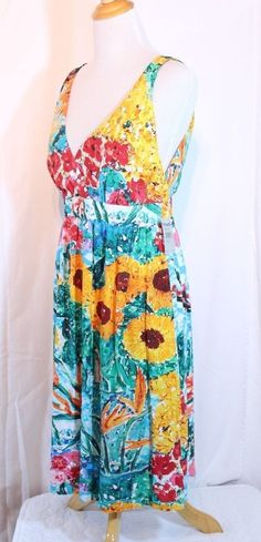 40cf5d95f8e92 Jams World Size XL Hawaiian Loud Print Dress Bright Floral Doyle 118.00 for sale  online | eBay
