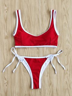 SheIn offers Contrast Trim Side T… Shop Contrast Trim Side Tie Bikini Set online. SheIn offers Contrast Trim Side Tie Bikini Set & more to fit your fashionable needs. Red Bra, Red Bikini, Bikini Swimwear, Bikini Girls, Bikini Tops, Bikini Bottoms, Cute Bikinis, Cute Swimsuits, Cute Bathing Suits