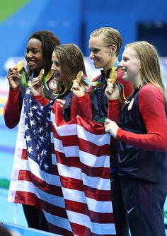 Kathleen Baker Lilly King Dana Vollmer Simone Manuel of the United States pose…