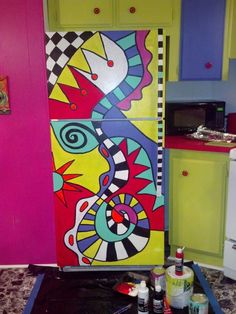painted fridge at beach rental!                                                                                                                                                                                 More