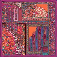 Gavroche 45 x 45 cm Hermès Bijoux Or Rose, Function Dresses, Scarf Design, Vintage Scarf, Botanical Prints, Vintage Flowers, Scarf Styles, Print Patterns, Paintings