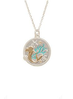 "<div>You should make this necklace from Disney part of your world, stat! The silver tone chain necklace has a flat charm that features a silhouetted image of Ariel among sea weed and shells. </div><div><ul><li style=""list-style-position: inside !important; list-style-type: disc !important"">Metal</li><li style=""list-style-position: inside !important; list-style-type: disc !important"">18"" long with 4"" extender</li><li style=""list-style-position: inside !important; list-style-type: disc !impor"