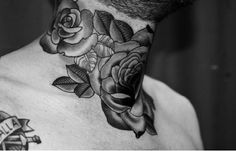 Awesome roses tattooed on the neck of this guy. #tattoo #tattoos #ink
