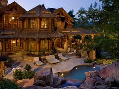 This rustic lodge style home was designed by RMT Architects and built by Beck Building Company, located in Beaver Creek, Colorado. Log Homes For Sale, Log Cabin Homes, Log Cabins, Lake Homes, Rustic Inn, Rustic Homes, Rustic Feel, Rustic Modern, Modern Farmhouse