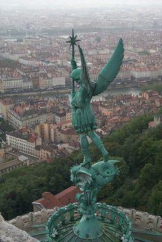Lyon France....angel atop Basilica of Notre-Dame de Fourviere