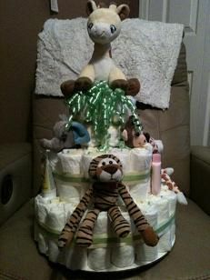 safari diaper cake #safari #diaper #cake