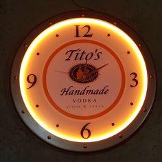 "Titos Vodka Lighted LED Bar Pub Wall Clock 21"" Austin Texas NEW Tito's Handmade #TitosVodka"