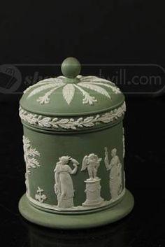 Green & White Wedgewood Covered Jar